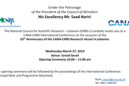 CANA-CNRS International Conference on the occasion of the 10th Anniversary of the CANA-CNRS Research Vessel in Lebanon